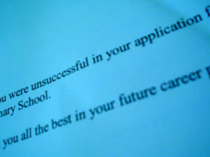 College admission rates: rejection letter